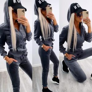 Dark Gray Velvet Tracksuit Set