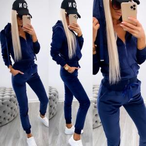 Navy Blue Velvet Tracksuit Set