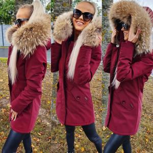 Winter parka with real fur and waterproof outer layer (dark red)