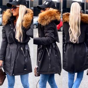 Winter parka with natural fur and adjustable waist (black)