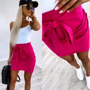 Soft cotton tie skirt (fuchsia)