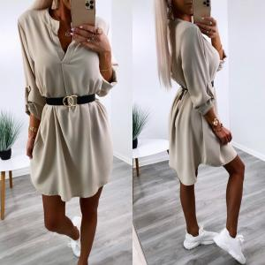 Beige Belted Shirt-dress