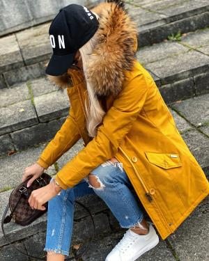 Winter parka with real fur and waterproof outer layer (yellow)