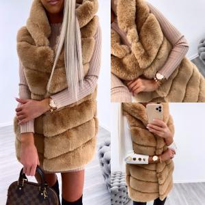 Hooded faux fur vest (brūns)