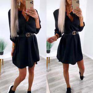 Black Belted Shirt-dress