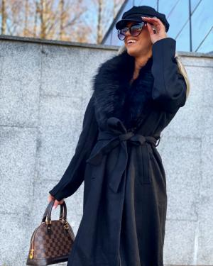 Faux fur collar wool coat (melns)