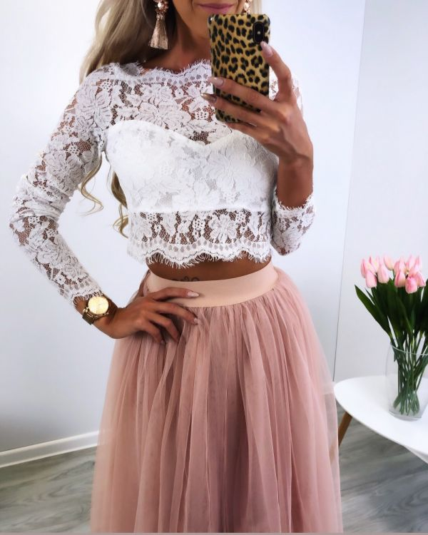 Lace crop top (white)