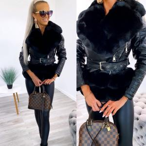 Faux fur collar belted jacket (black)