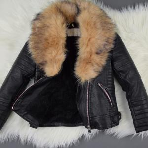 Black Short Jacket With Faux Fur Collar