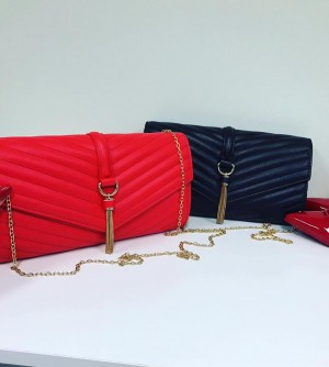 Red Clutch Bag With Golden Chain