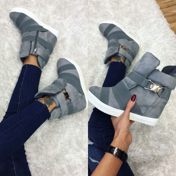 Comfortable wedge sneakers (grey)