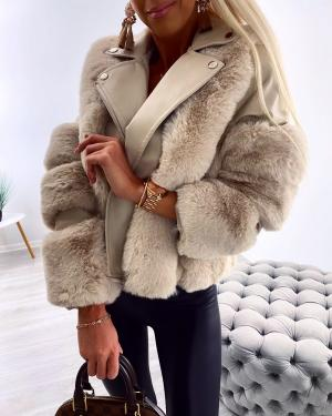 Short faux fur coat (bēša)