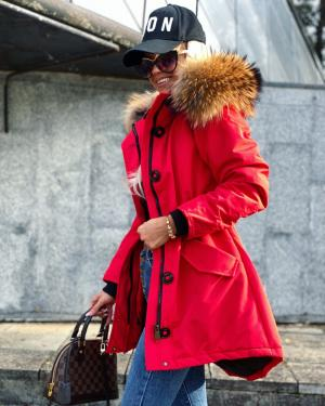 Winter parka with natural fur and longer back (red)