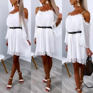 White Off Shoulder Belted Chiffon Dress