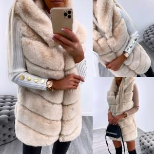 Hooded faux fur vest (bēša)