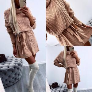 High neck tie knitted dress (sārts)