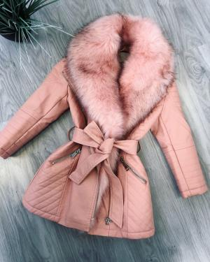 Pink Longer Jacket With Faux Fur Collar