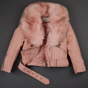 Pink Short Jacket With Faux Fur Collar