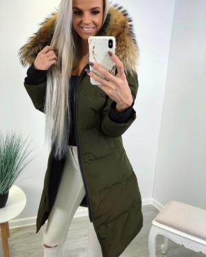 Long winter parka with natural fur and waterproof outer layer (khaki)