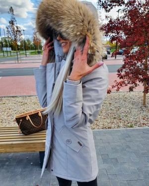 Winter parka with real fur and waterproof outer layer (grey)