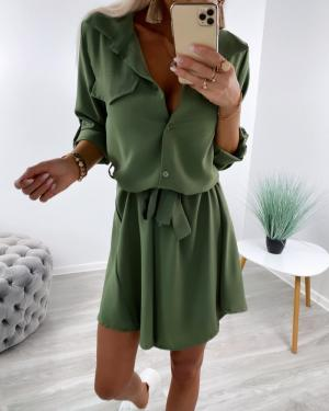 Khaki Tie Shirt Dress