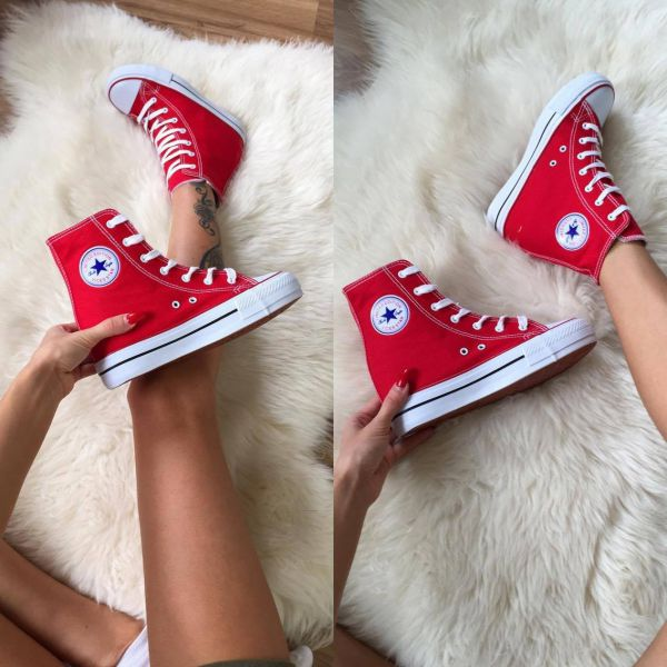 Comfortable wedge sneakers (red)