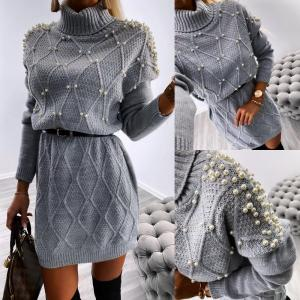Pearl belted knitted dress (grey)