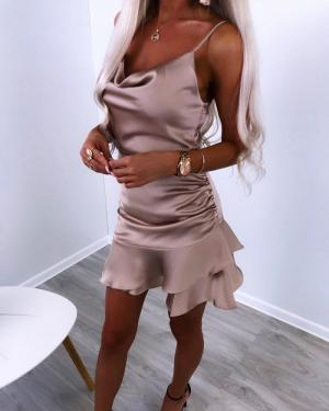 Beige Slip Bodycon Dress