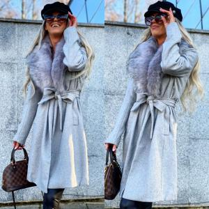 Faux fur collar wool coat (pelēks)
