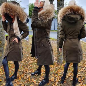 Winter parka with natural fur and waterproof outer layer (khaki)