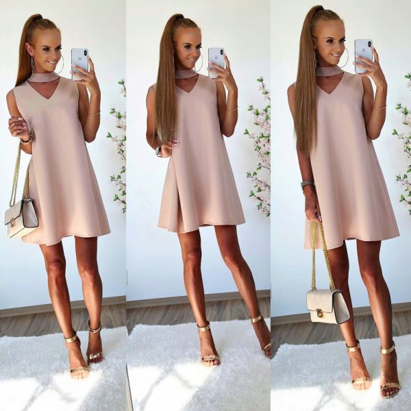 Beige Falling Dress With Choker