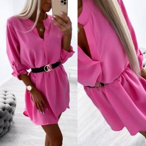Fuchsia Belted Shirt-dress