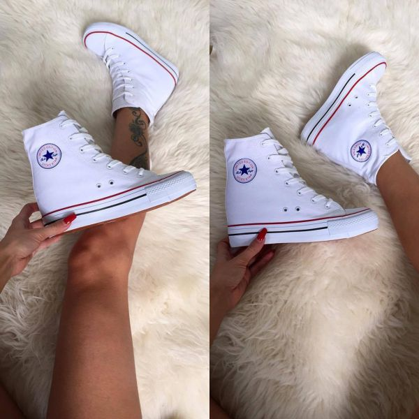 White Comfortable Wedge Sneakers