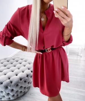 Pink Belted Shirt-dress