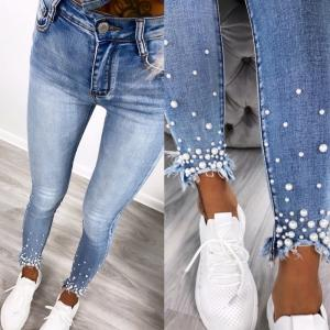 Stretch jeans with pearls (blue)