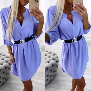 Purple Belted Shirt-dress