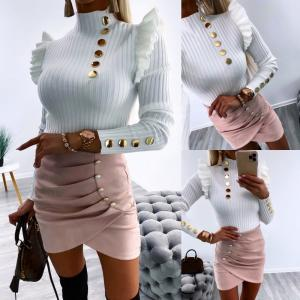 Gold button sweater (balta)