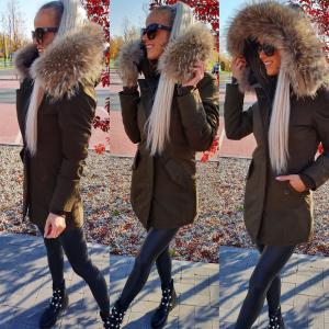 Winter parka with real fur and waterproof outer layer (khaki)