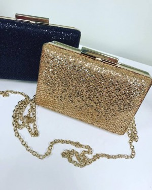 Gold Sequin Clutch Bag With Golden Chain