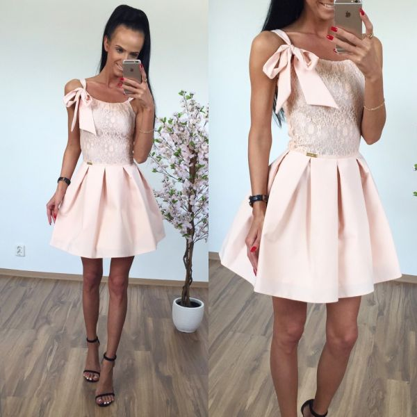 Festive skater dress with a bow (white)