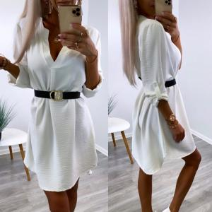 White Belted Shirt-dress