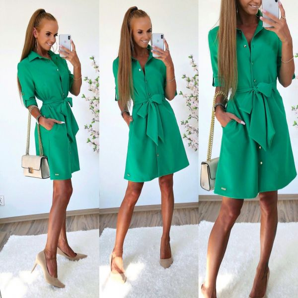 Green Casual Dress With Pockets