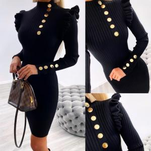 Gold button knitted dress (black)