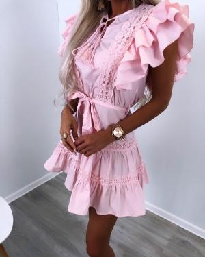 Pink Ruffle Tie Dress