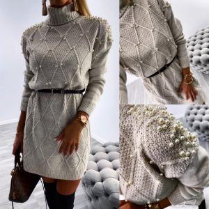 Pearl belted knitted dress (beige)