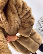 Beige Hooded Faux Fur Coat