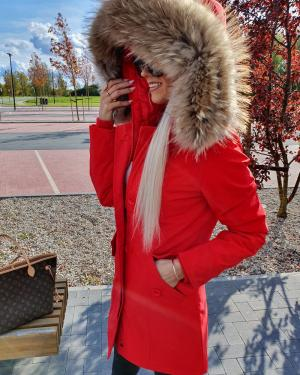 Winter parka with real fur and waterproof outer layer (red)