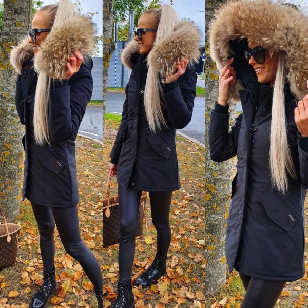 Winter parka with real fur and waterproof outer layer (black)