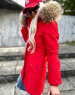 Winter parka with real fur and waterproof outer layer (pink)