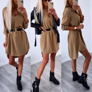 Brown Belted Shirt-dress